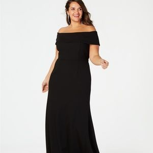 Betsy & Adam Off-The-Shoulder Crepe Gown Black